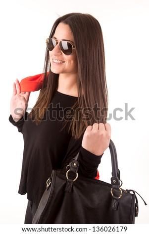 Beautiful fashion woman with sunglasses - stock photo