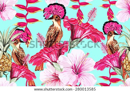Beautiful fashionable seamless floral jungle pattern background. Exotic birds, tropical flowers, pineapple, hibiscus, exotic print - stock photo
