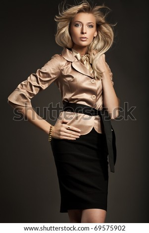 Beautiful fashionable woman - stock photo