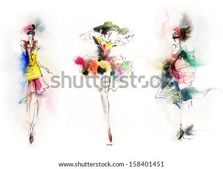 Beautiful fashionable woman in dress. Watercolor.  - stock photo