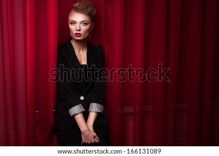 beautiful fashionable woman isolated on white background - stock photo