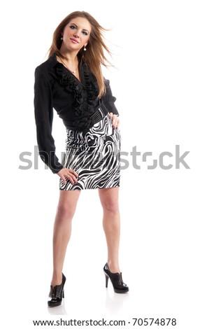 Beautiful fashionable woman on white background - stock photo