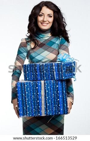 beautiful fashionable woman with gift box - stock photo