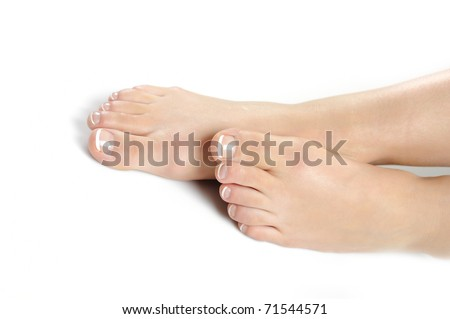 Beautiful feet leg with perfect french spa pedicure. white background - stock photo