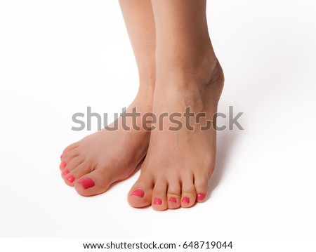 Beautiful Feet Perfect Spa Nail Pedicure Stock Photo ...