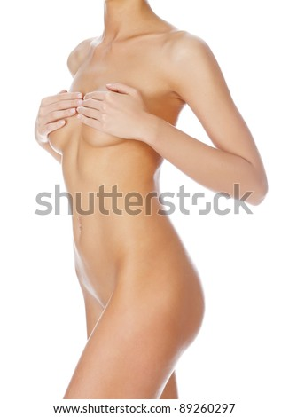 Beautiful female body isolated on clear white background - stock photo