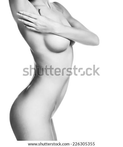 Beautiful female body. Isolated on white background - stock photo