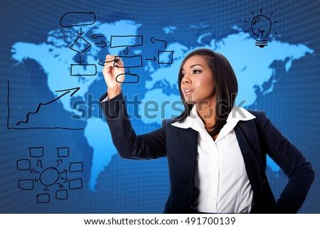 Beautiful female business woman consultant providing global reorganization strategy solution ideas concept.