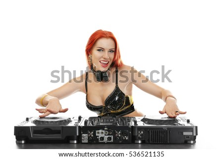 Beautiful female dj mixing music on white background
