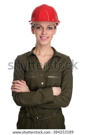 Beautiful female engineer wearing hard hat - isolated on white - stock photo