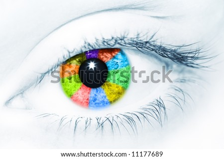Beautiful female eye colored by rainbow of different colors. Creative conceptual image - stock photo