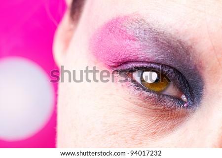 beautiful female eye with make up - stock photo