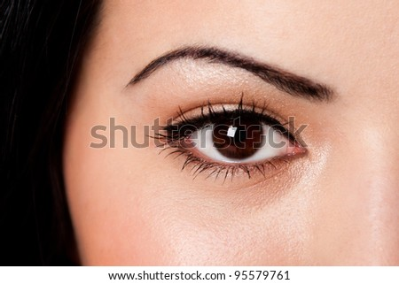 Beautiful female eyebrow and brown eye with lashes on fair skin. - stock photo