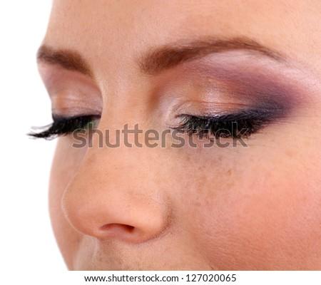 Beautiful female eyes with bright  make-up, close up - stock photo