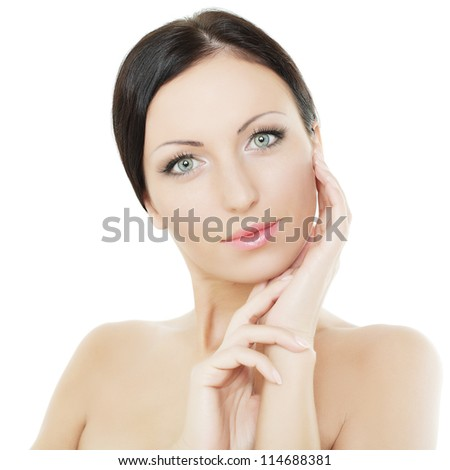 Beautiful female face - clean healthy skin, spa concept - stock photo