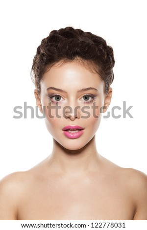 beautiful female face with natural makeup, on white background - stock photo
