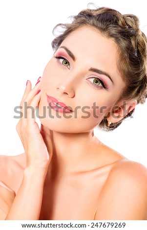 Beautiful female face with pure skin and natural make-up. Spa girl. Skincare, healthcare. Isolated over white background. - stock photo
