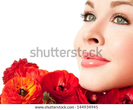 beautiful female face with red flowers - stock photo