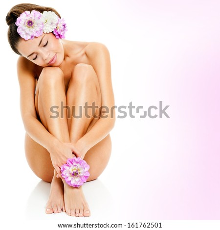 beautiful female figure. perfect skin. - stock photo