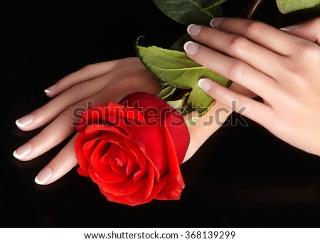 Beautiful female fingers with ideal french manicure touching red rose. Care about female hands, healthy soft skin. Spa & cosmetics. Beauty care. Close-up of beautiful famele fingers with nails polish  - stock photo