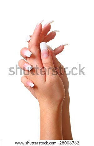 Beautiful female gentle brushes of hands with manicure, isolated on a white background, please see some of my other parts of a body images: - stock photo