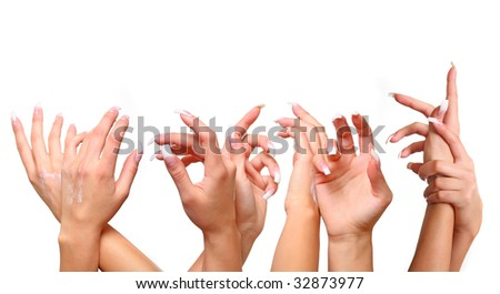 Beautiful female gentle brushes of hands with manicure, isolated on a white background, please see some of my other parts of a body images