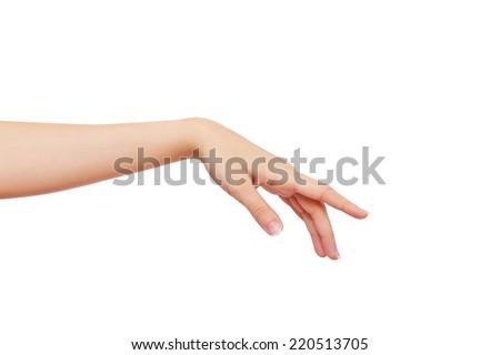 Beautiful female hand isolated on a white background. studio photoshoot - stock photo