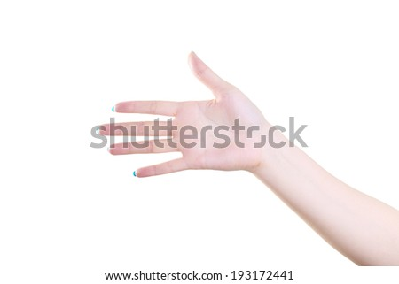 Beautiful female hand with Open fingers isolated on the white background - stock photo