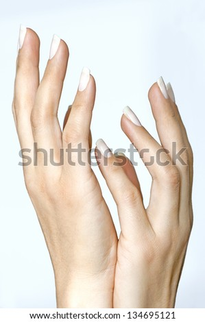 Beautiful female hands isolated on clear background - stock photo