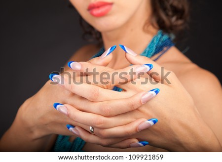 Beautiful Female Hands.Nail art concept - stock photo