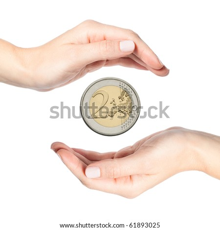 Beautiful female hands protecting euro coin, isolated on white background - stock photo