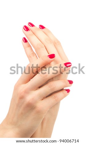 Beautiful Female Hands red manicure shellac beauty concept on a white background - stock photo