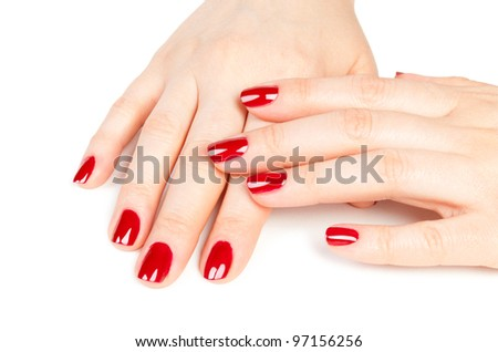 Beautiful Female Hands red manicure shellac concept on a white background - stock photo