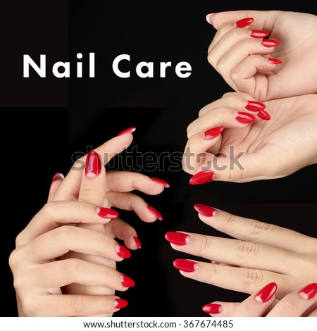 Beautiful female hands with red nails and space for your text isolated on black - stock photo