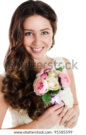 Beautiful female holding pink peonies bouquet, valentine romantic gift, woman isolated on white background, happy young girl with flowers - stock photo