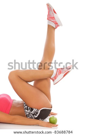 Beautiful female legs during workout. - stock photo