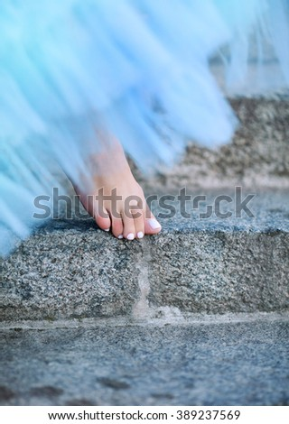 Beautiful female legs in shoes - stock photo