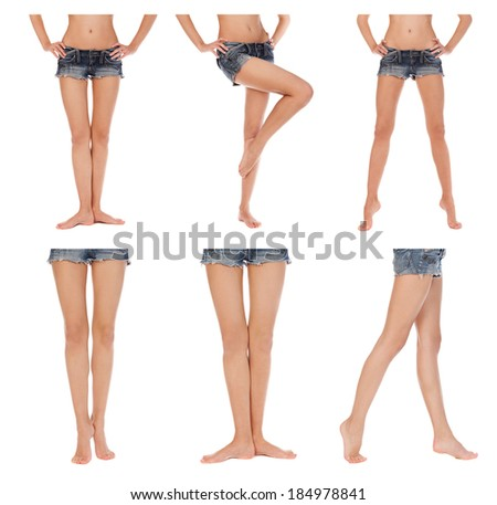 Beautiful female legs, isolated on white. Collage. - stock photo