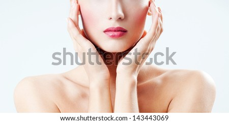 Beautiful female lips - stock photo