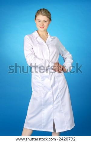 beautiful female & medicine - stock photo