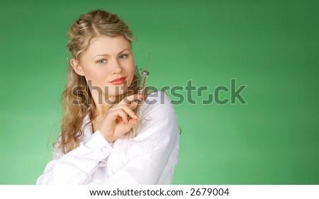 beautiful female & medicine - inoculation - stock photo