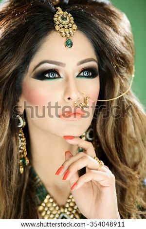 Beautiful female model with makeup  - stock photo