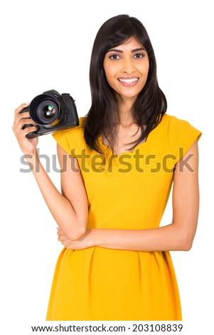 beautiful female photographer holding a dslr, camera isolated on white - stock photo
