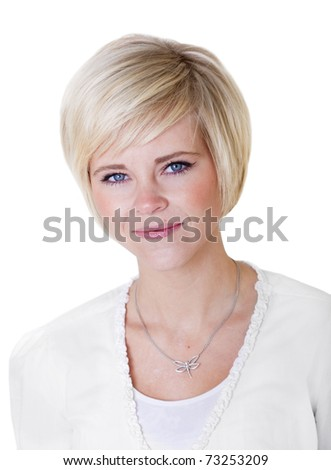 Beautiful Female Portrait on white background - stock photo