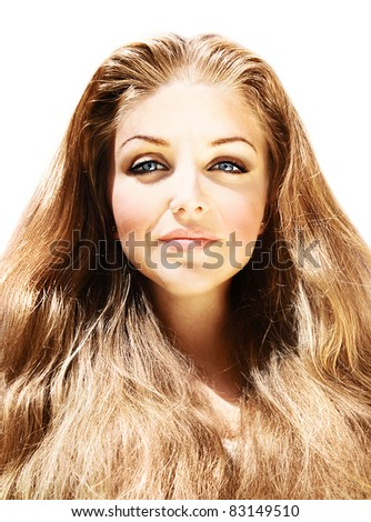 Beautiful female portrait with long blond hair isolated on white background