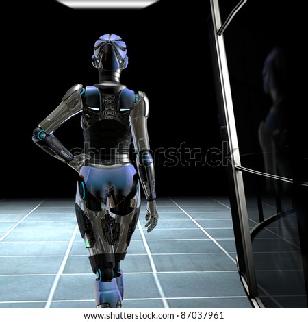 Beautiful female Robot walking down the dark hall way of the science lab inside an new technology industrial complex. Illustration - stock photo