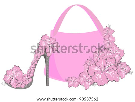 Beautiful female shoes and bags - stock photo