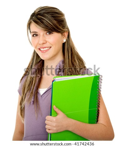 Beautiful female student smiling isolated over a white background
