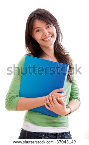 Beautiful female student smiling isolated over white