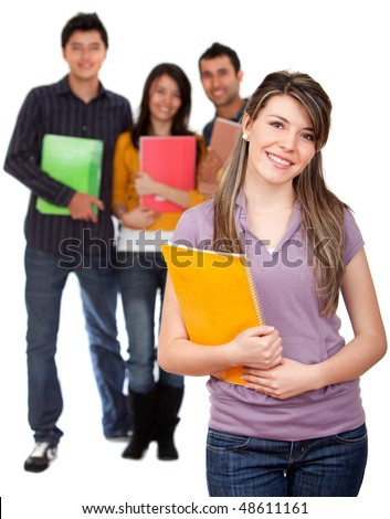Beautiful female student with holding a notebook with her friends behind her isolated over a white background